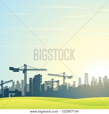 Vector illustration. City Skyline. Modern Buildings Construction