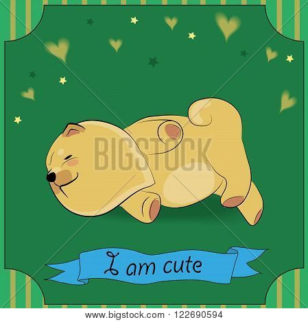 Cute Sleeping Yellow Dog Chow-chow. Vector Illustration