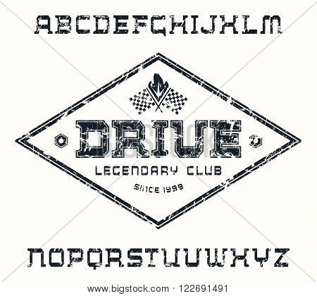 Square serif font with texture and racing emblem. Black print on white background