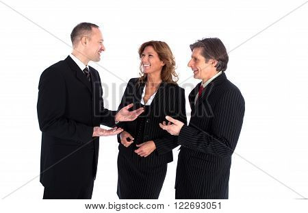 Mixed smiling businessteam talk to eachother in a meeting