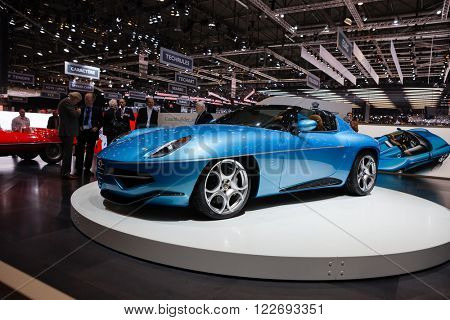 GENEVA, SWITZERLAND - MARCH 1: Geneva Motor Show on March 1, 2016 in Geneva, Touring Superleggera Disco Volante Spyder, front-side