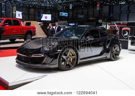 GENEVA, SWITZERLAND - MARCH 1: Geneva Motor Show on March 1, 2016 in Geneva, TopCar Porsche 911 Turbo, side-front view