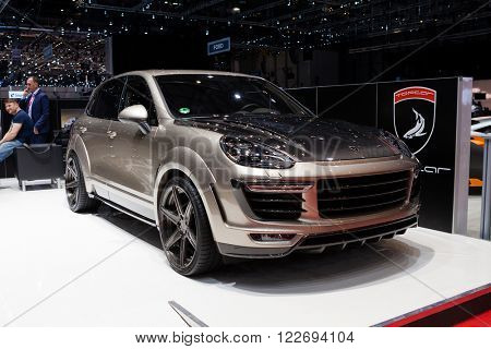 GENEVA, SWITZERLAND - MARCH 1: Geneva Motor Show on March 1, 2016 in Geneva, TopCar Porsche Macan, side-front view