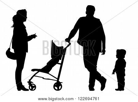 Family with baby and pram on a walk. Man woman and child. Silhouettes on a white background.