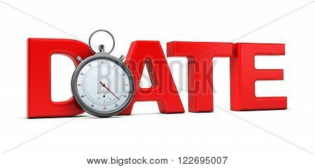 Word date with a stopwatch over white background 3D concept for speed dating illustration.