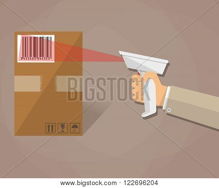 cartoon human hand is scanning a cardboard box with barcode scanner. vector illustration in flat design on brown background