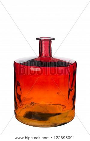 Short Empty Red Amber Gradient Cylindrical Necked Crystal Vase