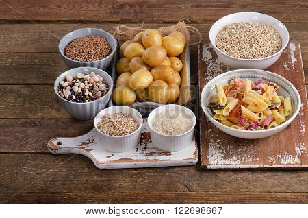 Healthy Food: Best Sources Of Carbs On Wooden Board.