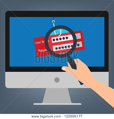 Hand hold magnifying glass found computer with malware virus phishing username and password logon. Vector illustration business computer security technology concept.