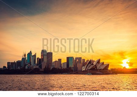 Sydney, Australia - November 10, 2015: Beautiful Sydney city view at sunset. Sydney is the biggest city in Australia