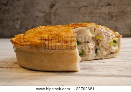 Chicken And Leek Pie With Slice Missing