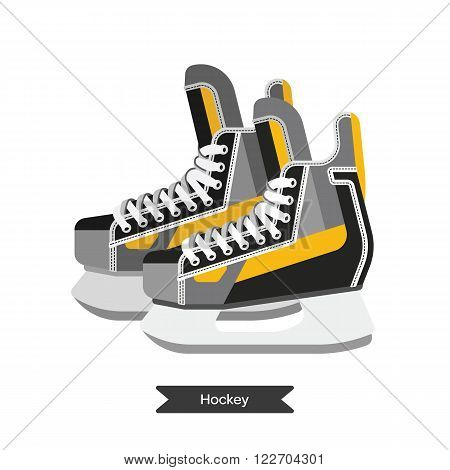 Vector hockey skates. Isolated hockey skates on white background. Ice hockey sports equipment. Ice hockey skates in flat style.