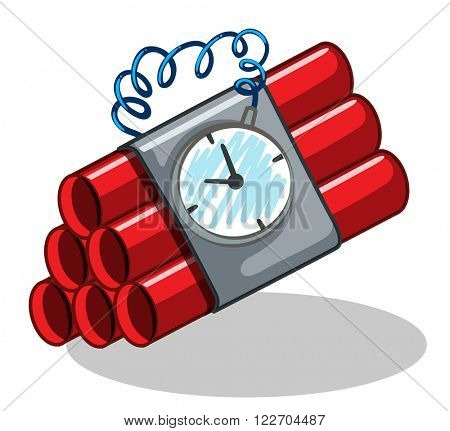 Bomb wrapped with timer illustration poster