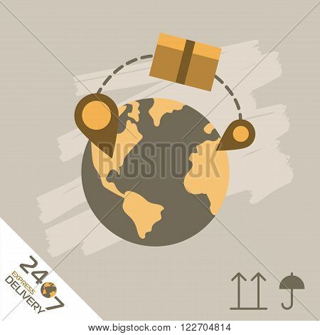 Express Delivery Services. Elements of Trucking. Worldwide Shipping. Icon Delivery raster. Express Delivery of Goods. Delivery Service, Cargo Delivery.