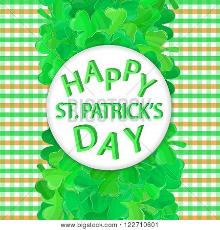 Patricks day frame. Green clover vector. Irish Saint Patricks day. Spring vector illustration can be used for spring holiday printed products web design.