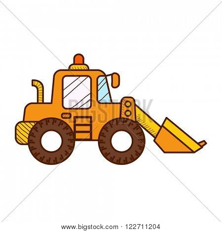 Excavator Dozer Digger Tractor isolated on white background. Vector illustration