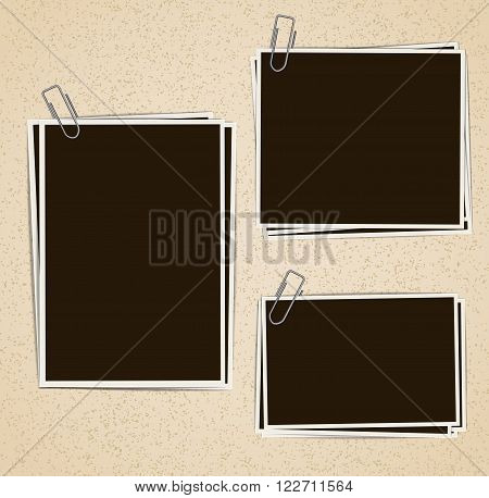 Photo frames composition with clips on retro background. Vector design template