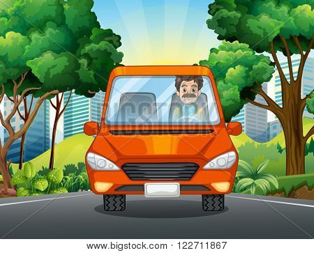 Man driving car on the road illustration