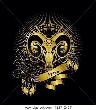 vector illustration zodiac sign Aries emblem vintage frame with feathers on a black background gold