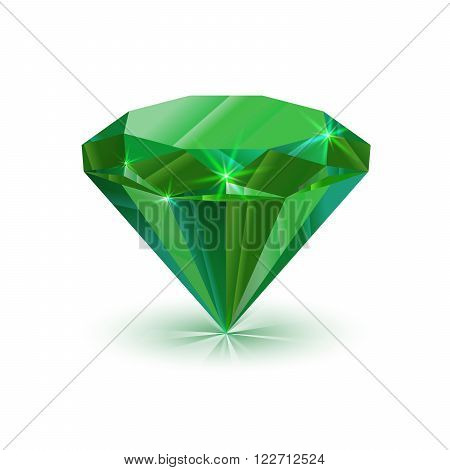 Dazzling shiny green emerald isolated on white