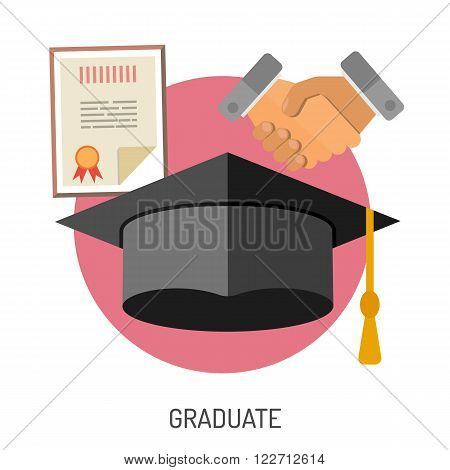 Education Flat Icon Set for Flyer, Poster, Web Site Like mortarboard, certificate, diploma and handshake.
