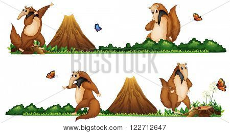 Anteaters walking in the field illustration