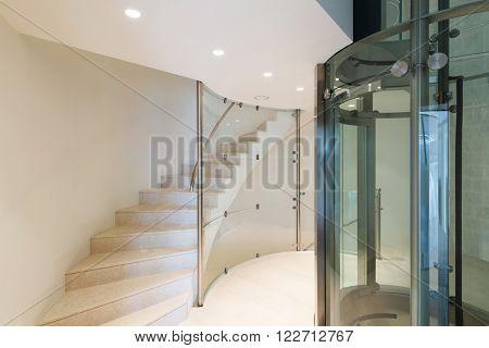Architecture, futuristic elevator in a modern building
