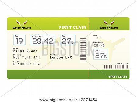 Plane Ticket First Class Green