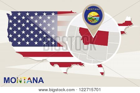 USA map with magnified Montana State. Montana flag and map. poster