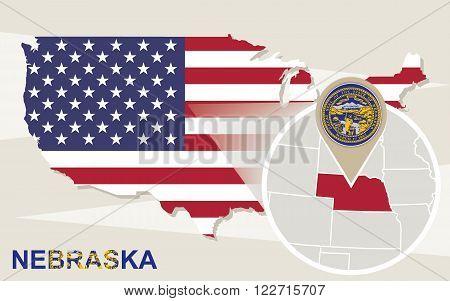 Usa Map With Magnified Nebraska State. Nebraska Flag And Map.