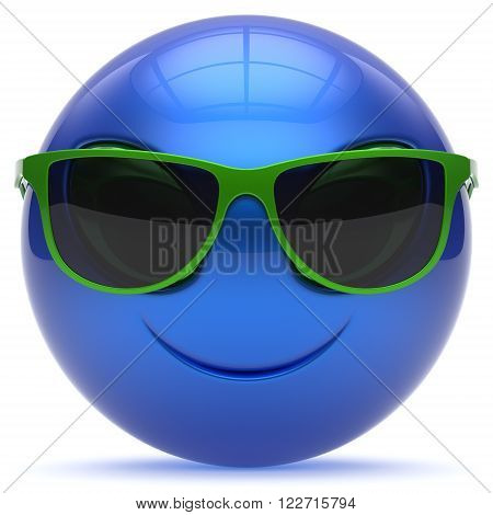Smiley head emoticon alien face sunglasses cartoon cute monster ball blue green avatar. Cheerful funny smile invader person character toy laughing eyes joy icon concept. 3d render isolated