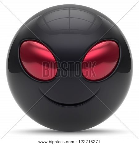 Smiley alien face head cartoon cute emoticon monster ball black red avatar. Cheerful funny smile invader person character toy laughing eyes joy icon concept. 3d render isolated