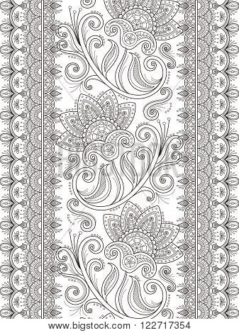 graceful flower coloring page design in exquisite line poster