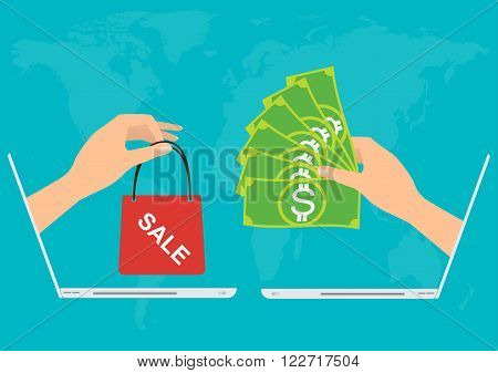 Hand from laptop give banknote money for shopping online.Vector illustration Omnichannel online marketing concept.