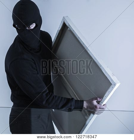 Photo of masked criminal holding stolen picture