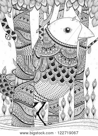 fantastic giant bird coloring page in exquisite line