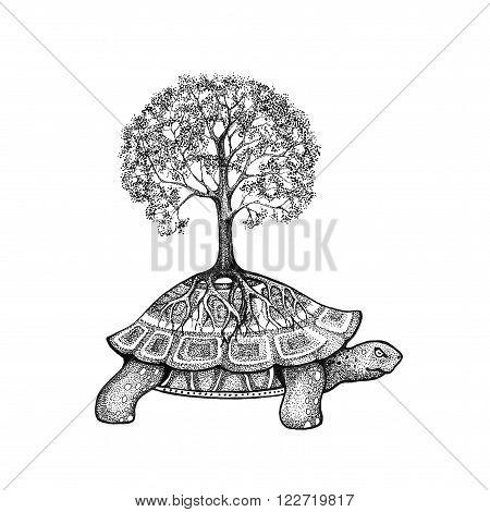 Illustration tattoo. Tree growing on a turtle
