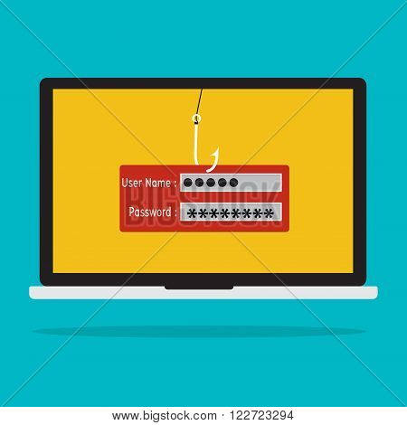 Computer with malware virus phishing username and password logon. Vector illustration business computer security technology concept. poster
