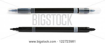 Felt-tip black pen marker isolated over the white background