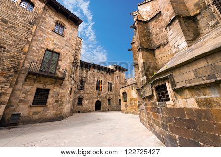 Barri gothic quarter and the apse of the Cathedral of the Holy Cross and Saint Eulalia in Barcelona Catalonia Spain