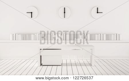 Minimalist working space with three different time zone clocks on wall, 3d rendered