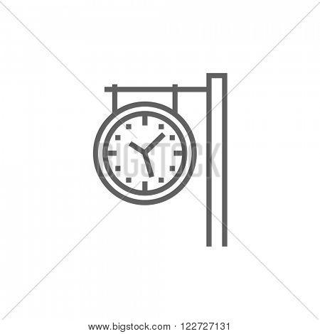 Train station clock line icon.