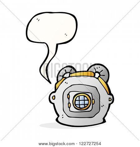 cartoon old deep sea diver helmet with speech bubble