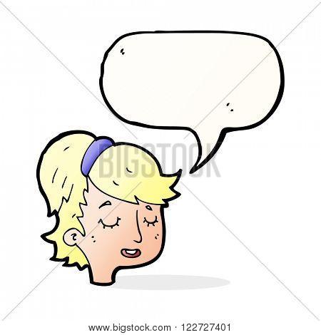 cartoon pretty female face with speech bubble