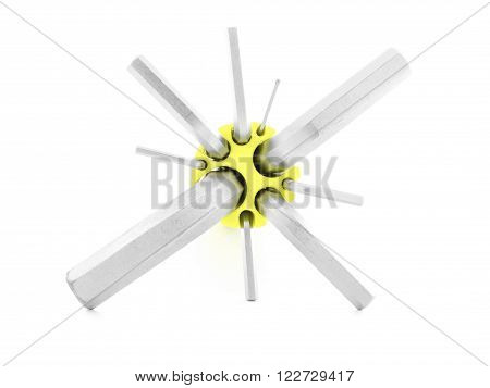 Hex key steel tool for screw isolated on white background