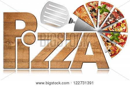 Wooden icon or symbol with text Pizza stainless steel pizza cutter and slices of pizza. Isolated on a white background