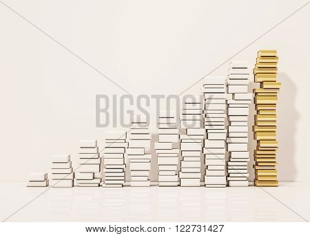 Piles of whiite book step rising up with the golden pile at top, 3d rendered