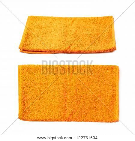 Single orange terry cloth towel isolated over the white background, set collection of two different foreshortenings