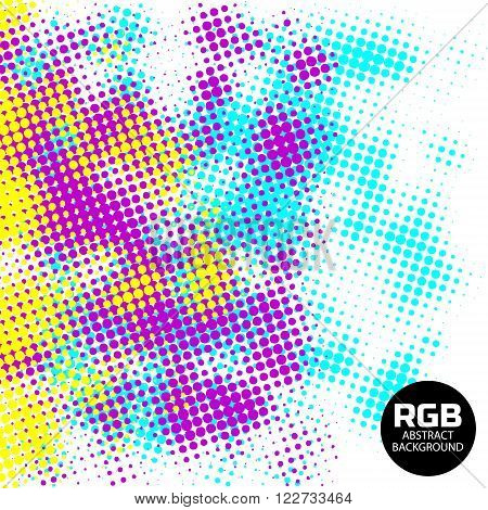 Abstract RGB halftone retro background. Yellow Pink Blue halftone vector background, with circles and fine points. Vector illustration in RGB colors.