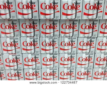 SPENCER WISCONSIN March 22 2016: Cases of Diet Coke on display on a grocery store shelf Coca Cola is an American based company founded in 1886